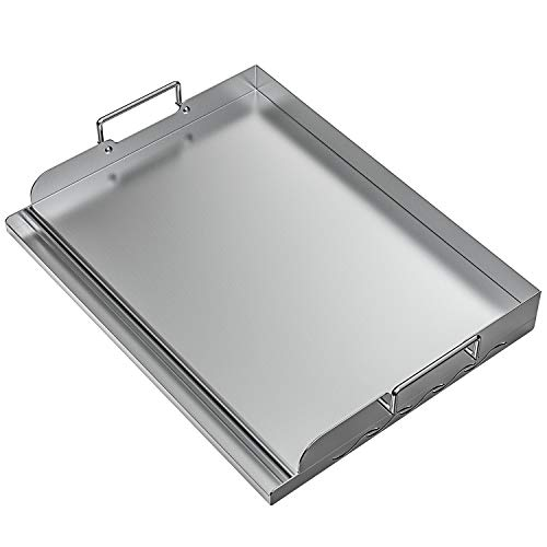 "Skyflame Universal Stainless Steel Griddle Flat Top Plate with Even Heating Bracing for BBQ Charcoal/Gas Grills, Camping, Tailgating, and Parties 17"" x 13"""