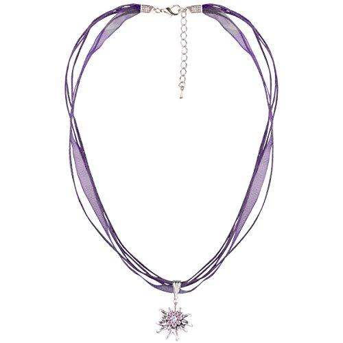 Schlick Accessoires Damen Dirndl-Kette Halskette mit 4 Bändern mit Edelweiß Trachten-Schmuck Trachten-Kette, Farbe:Lila