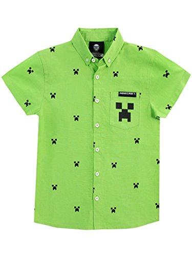 Minecraft Camicie a Maniche Corta per Ragazzi Creeper Verde 8-9 Anni