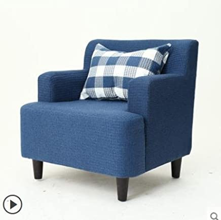 未蓝生活单人小沙发布艺简约小户型客厅实木沙发个性书房卧室沙发 (单人沙发+脚蹬 蓝色)