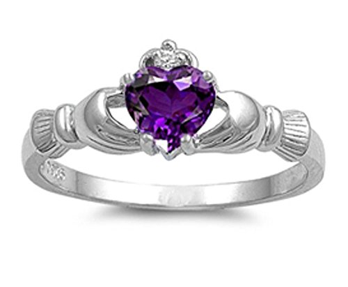 Oxford Diamond Co Irish Claddagh Simulated Amethyst Heart Ring Size 11