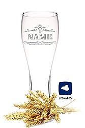 Leonardo Weizenglas mit Gravur - Geschenk für Männer ideal als Vatertagsgeschenk 0,5l - Bierglas mit Gravur - Weizenbierglas als Geburtstagsgeschenk für Männer