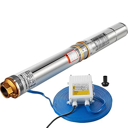 VEV Bomba de Pozo Profundo 6,7 BAR , Bomba Sumergible de Pozos Profundos 0,75 KW - 6,500 L / H, Bomba de Agua de 2850 rpm Acero Inoxidable, Bomba Agua Congelado con Cable de Conexión 20 m