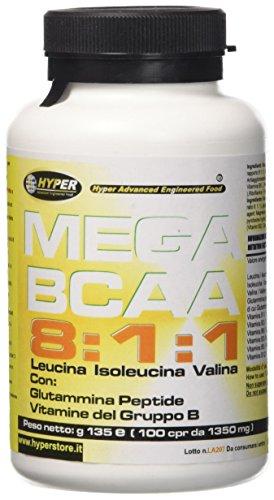 Hyper Aminoacidi Ramificati MEGA BCAA 8:1:1 - con glutammina Peptide e Vitamine del gruppo B 100 Compresse