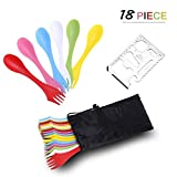 18 Pack Sporks - Spoon, Durable & BPA Free Tritan Sporks, Spoon Fork & Knife Combo Utensils with Portable Strong Waterproof Bag and Stainless Multifunctional Bottle Opener for Camping Outdoor, 6 Color