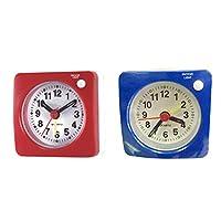 Baoblaze 常夜灯付き小型目覚まし時計にこのベッドサイドトラベル2個/個赤+青