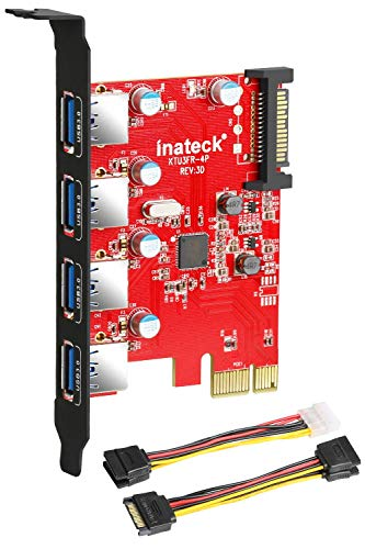 Inateck KTU3FR-4P 4 porte PCI Express card desktop usb Controller, Fresco FL1100 chipset compatible Windows XP/Vista/7/8, Include un 4pin to 2x15pin Cable + un 15pin to 2x15pin SATA Y-Cable