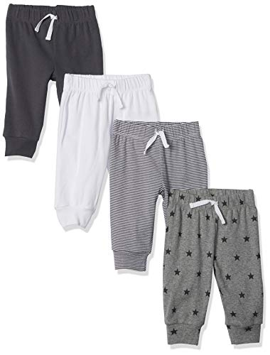 Amazon Essentials - Confezione da 4 pantaloni da bambino, Black/Stripe/White/Grey, Preemie