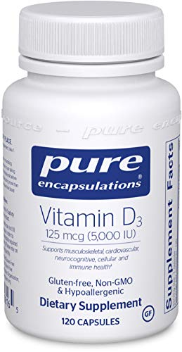 Pure Encapsulations - Vitamin D3 125 mcg (5,000 IU) - Hypoallergenic Support for Bone, Breast, Prostate, Cardiovascular, Colon and Immune Health - 120 Capsules
