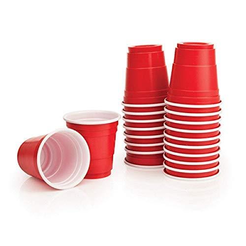 BeerCup-Classics Red Cup Shots Schnapsgläser Kurzer Shot 2Oz 5cl Rote Becher Mini Beer Pong Becher (100 STK)