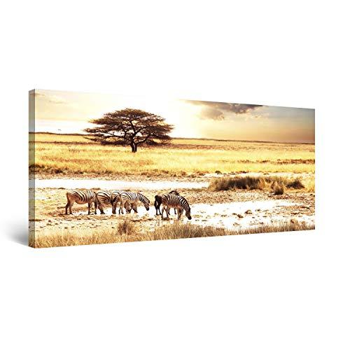 Startonight Cuadro Moderno en Lienzo Sabana Africana, Pintura Paisaje Para Salon Decoración 60 x 120 cm