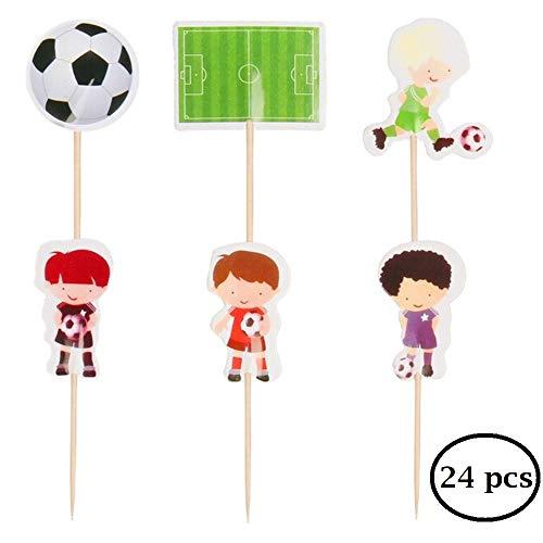 WIKI Fiesta Calcio Cupcake Toppers, Decorazioni per Torte, Decorazioni Torta Compleanno, Compleanno Bambino, Festa di Calcio, Addobbi Compleanno Bambino (24 Pezzi)