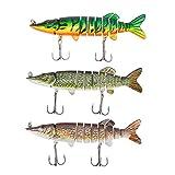 Amarine Made 3D Pike Fishing Lures Set 3pcs Multi Jointed Swimbaits Crankbait Lifelike 9 Segemented Freshwater Saltwater...