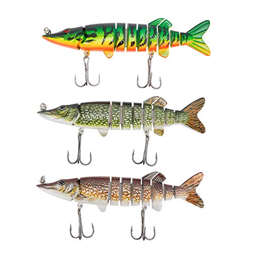 Amarine Made 3D Pike Fishing Lures Set 3pcs Multi Jointed Swimbaits Crankbait Lifelike 9 Segemented Freshwater Saltwater Slow Sinking Hard Bait for Bass Pike Muskie Trout