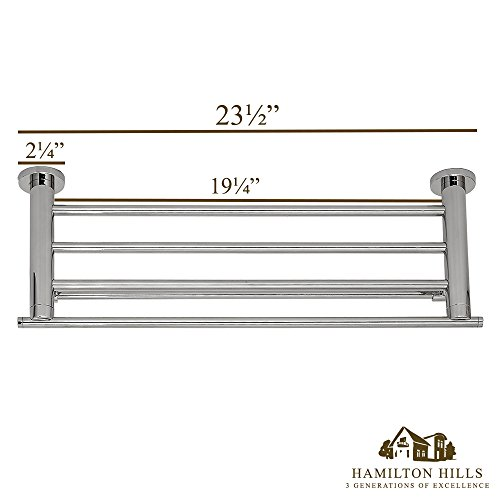 Modern Polished Towel Rack   Clean Lines & Premium Quality Stainless Steel Towel Shelf with Hanging Bar   Wall Mounted Contemporary Design   Bathroom or Closet