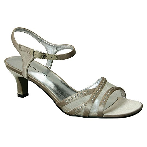 David Tate New Women's Violet Dress Sandal Champagne Satin 8