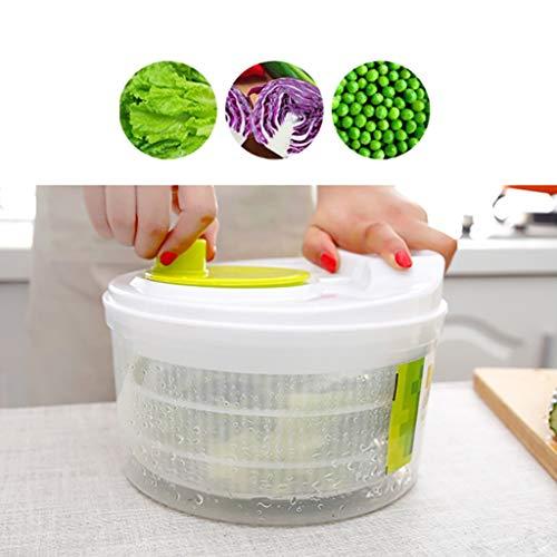 carol -1 Salatschleuder mit Deckel, Großer Salattrockner inkl. Salatschüssel zum Servieren & Ablaufsieb für Wasser aus Kunststoff, Salatschleuder – mit Kurbelantrieb und Siebeinsatz –3teilig