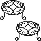 Amagabeli 2 Pack 10 inch Plant Potted Stands Metal Wrought Iron Rustproof Flower Pot Planter Holder Rack Outdoor Indoor Steel Short Small Supports Display Trivet Floor Art Saucer Decor Round Black