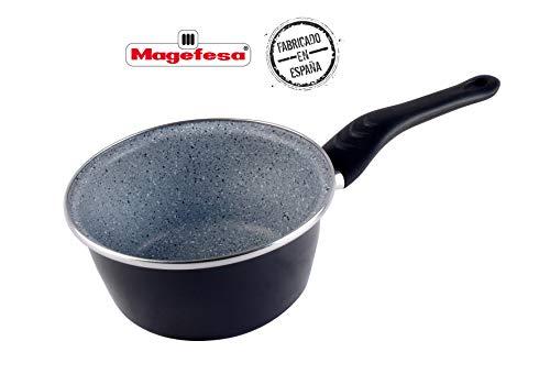 Desconocido Magefesa Dolomiti Cazo 16 cm de Acero esmaltado, Antiadherente Multicapa Efecto Piedra, Color Exterior. Apto para Todo Tipo de cocinas, incluida inducción, Gris Marengo, 16