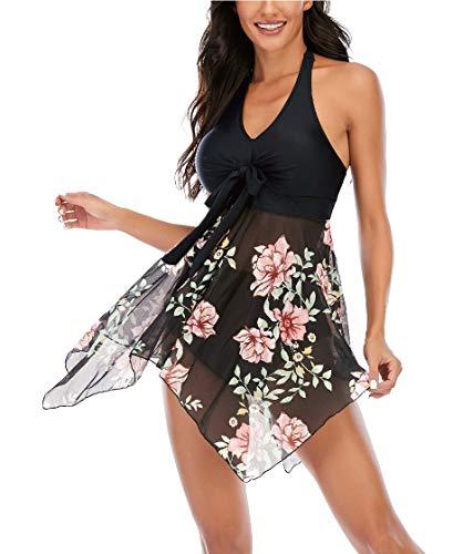 Aidotop Femme Maillot de Bain Tulle Tankini Cache Ventre Push Up Swimsuit à Jupette Elégante Taille Haute Beachwear(Pinkfloral,XL)