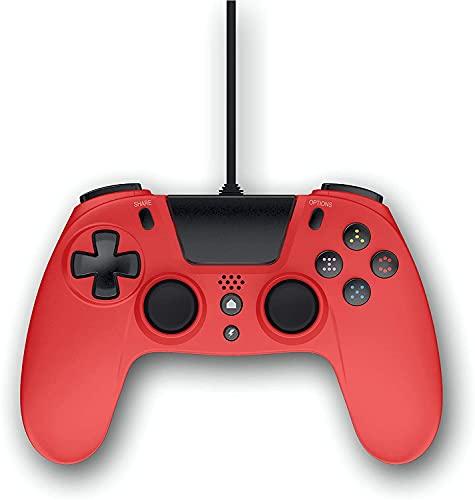 Gioteck - VX4 Manette Rouge filaire pour PS4 et PC. Contrôleur, Gamepad, Joystick Support de mouvement et de vibration. Design ergonomique