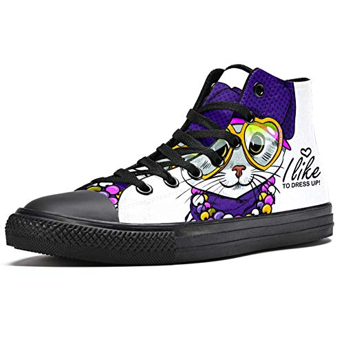 TIZORAX Cat in Purplr Hat and Necklace High Top Sneakers for Women Teen Gilrs Fashion Lace up Canvas Shoes Casual School Walking Shoe