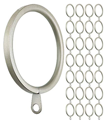 Meriville 28 pcs 1.5-Inch Inner Diameter Metal Flat Curtain Rings with Eyelets, Fits Up to 1 1/4-Inch Rod (Set of 28, Pewter)