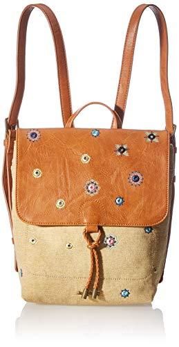 Desigual Backpack Medium, Fabric-Mochila (tamaño Mediano) para Mujer, marrón