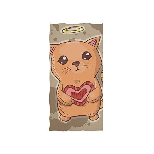 FANTAZIO Serviette de Toilette en Coton de qualité supérieure Motif Chat avec cœur Rouge