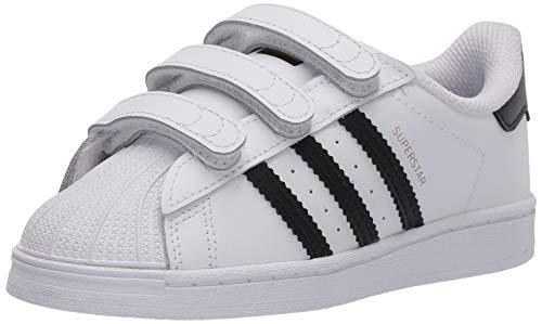 adidas Originals unisex child Superstar Cloudfoam Sneaker, White/Black/White, 8.5 Toddler US