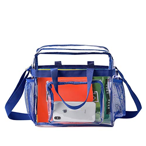 MAY TREE Clear Bag Stadium Approved, Cold-Resistant, Lightweight and Waterproof, Transparent Tote Bag and Gym Clear Bag, See Through Tote Bag for Work, Sports Games and Concerts-12 x12 x6 (Blue)