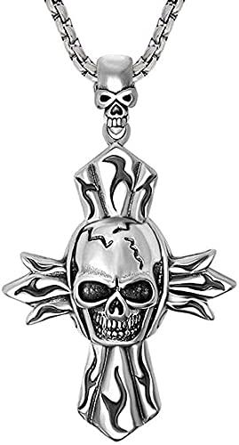 Yiffshunl Collar de Moda Vintage Calavera Natural Granate ópalo Colgante Collar Hombres Pata Piedra Punk Acero Inoxidable Esqueleto Collares