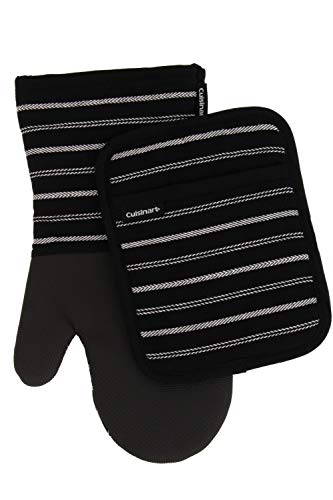 Cuisinart Neoprene Oven Mitts and Potholder Set -Heat Resistant Oven Gloves to Protect Hands and...