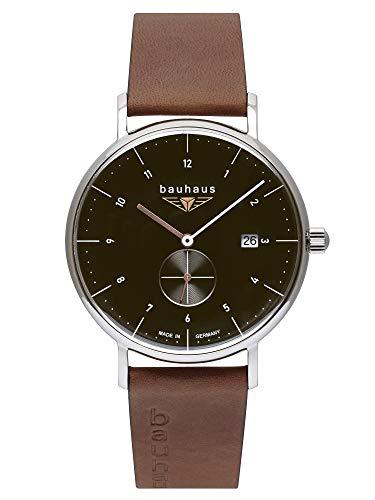 Bauhaus Herrenuhr Quarz mit kleiner Sekunde schwarz mit braunem Lederarmband 2132-2