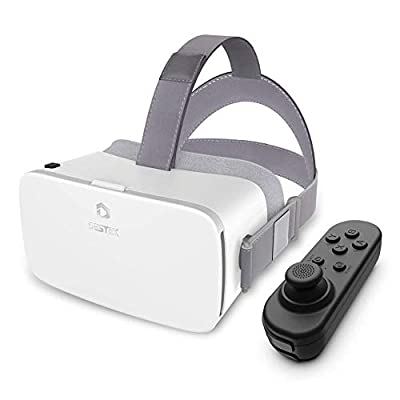 DESTEK V5 VR Headset, 110°FOV Anti-Blue Light Eye Protected HD Virtual Reality Headset w/Bluetooth Controller for iPhone 11/Pro/X/XR/Max,for Samsung S20/Note 10/9/Plus,Phones w/5.5-6.8in Screen White