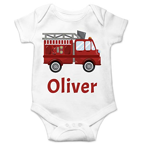 schenke-freude.de Individueller Baby-Body Feuerwehr - personalisiert mit Namen