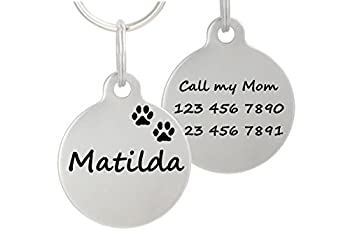 Double Sided Laser Etched Stainless Steel Pet ID Tag for Dog and Cat Engraved and Personalized 1 Round Shape Paws