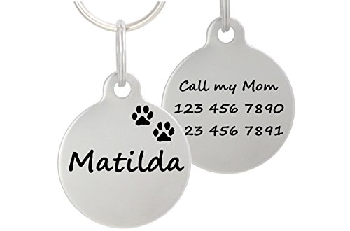 Double Sided Laser Etched Stainless Steel Pet ID Tag for Dog and Cat Engraved and Personalized 1' Round Shape (Paws)