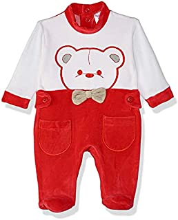 Papillon Velvet Embroidered Bear Long-Sleeve Snap-Closure Kids Bodysuit - Red and White, 0-1 Month