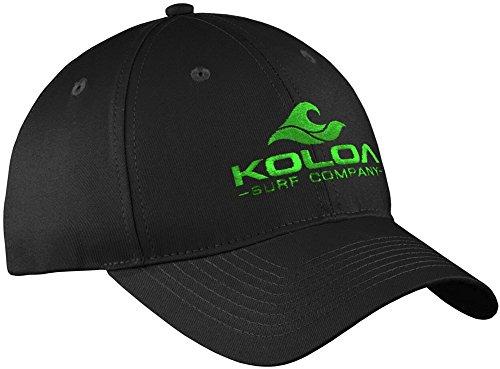 Koloa Surf 3' Wave Logo'Old School' Curved Bill Solid Snapback Hat -Black/green