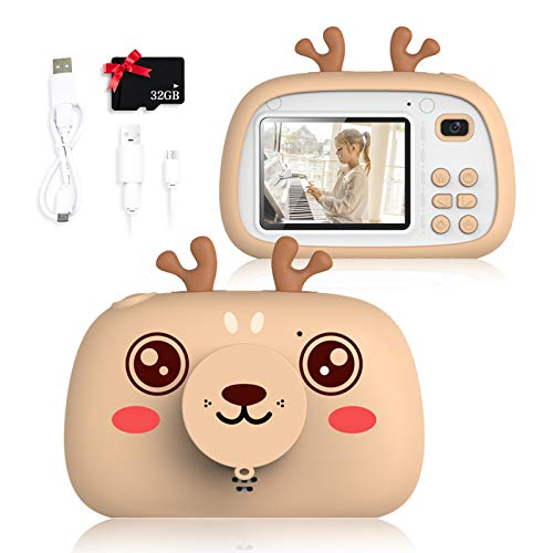 SWEET CARROT Cámara digital para niños, cámara digital de 2,4 pulgadas, cámara digital de 8 megapíxeles, lente frontal y trasera, flash, tarjeta SD de 32 G para niñas, niños, regalos de cumpleaños