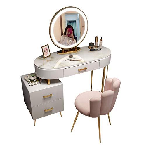 Schlafzimmer Schminktisch mit LED-Lichtern Spiegel Weiß gehärtete Glasplatte Komfortable gepolsterte Hocker Große Schubladen für viel Stauraum