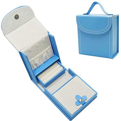 Caja De Joyería De 12 * 11 * 6 Cm, Caja De Joyería, Joyería Portátil De Cuero PU, El Regalo Ideal para Niñas,Azul