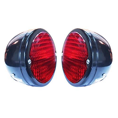Bajato Runder Traktor Rücklicht, schwarzes Gehäuse, schwarzer Ring und rote Linse mit Nummernschildfenster, 12 V
