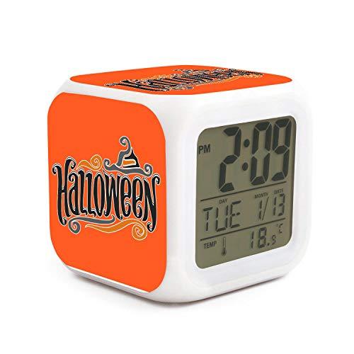 XIANGXIXI0 Best Halloween Night Light Alarm Clock for Teen Digital Alarm Clock with Rechargeable Battery Desk Children's Alarm Clock Indoor Thermometer