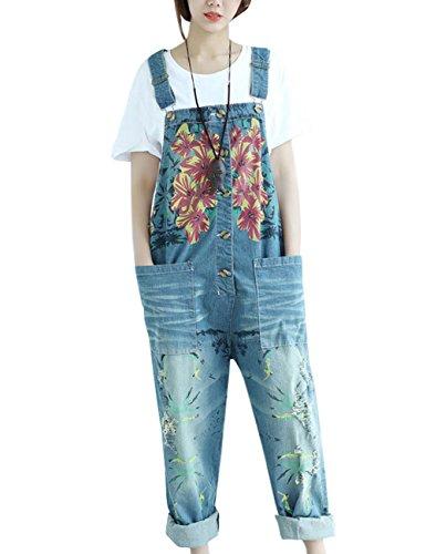 Youlee Damen Jahrgang Denim Latzhose Hosenträger Hosen Style 5 Blue