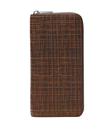 Michael Kors Harrison Unisex Crosshatch Large Leather Zip-Around Wallet (Metallic Silver)