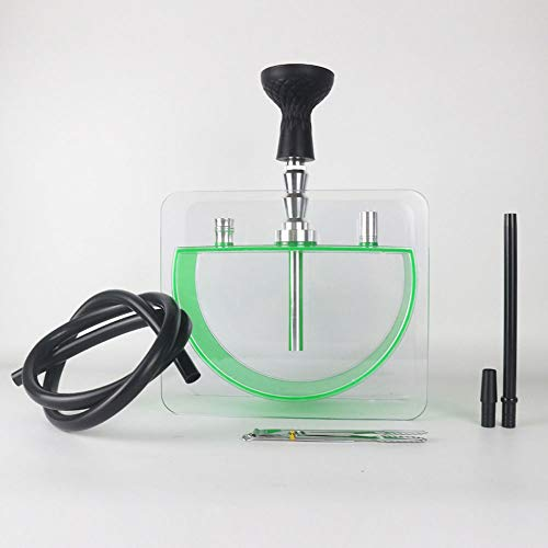JYXZM Premium Hookah Set with Modern Acrylic Cube Design LED with Silicone Bowl, Hose, Charcoal Tongs | Best Shisha, Nargile, Hookah, Nargila Experience (Color : Green)