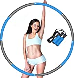 Yibaision Fitness Hoola Hoop for Adults, Weighted Hoola Hoops for Exercise Detachable and Size Adjustable Design and Free Bonus Jump Rope (Gray)