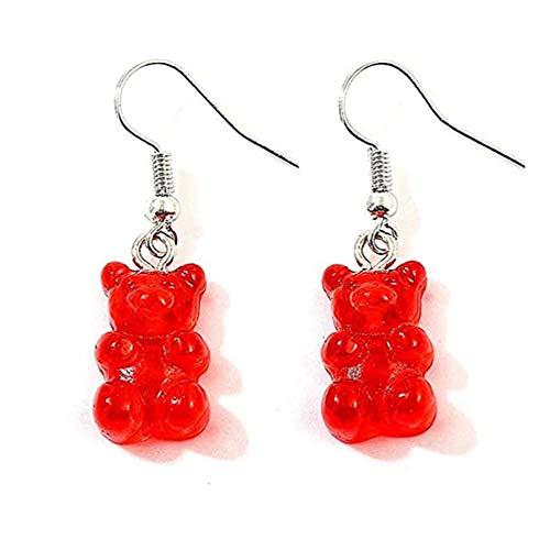Tukcherry Mignon Petit Ours Boucles d'oreilles pour Filles (Rouge)